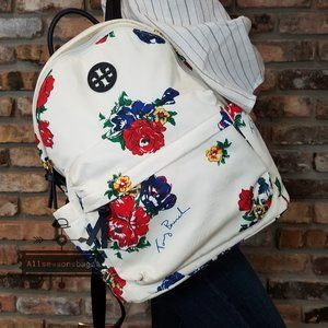 TORY BURCH Nylon Ella Floral White Red Backpack